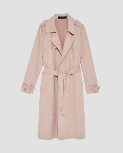 ZARA Faux Suede Trench Coat Pink S