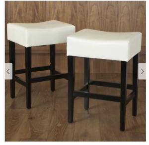 27 Inch Backless Ivory Leather Countertop Stools Set 2