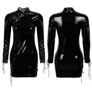 Women-Wet-Look-Leather-Lace-up-Cheongsam-Dress-Party-Bodycon-Mini-Dress-Clubwear