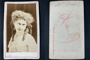 Disdéri, Paris, Mademoiselle Wooy, comédienne Vintage cdv albumen print CDV, t