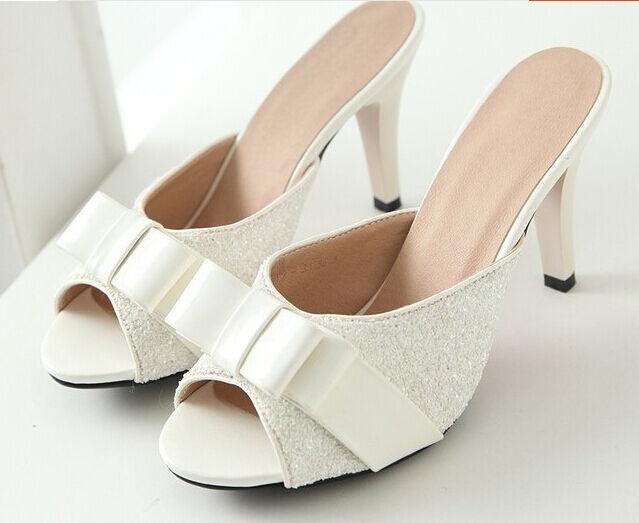 Último gran descuento Zapatos zapatillas zuecos sandalias talón perno 8.5 cm blanco tacón de aguja