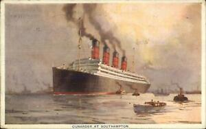 Cunard-Line-Steamship-at-Southampton-1921-Used-Postcard-Highgate