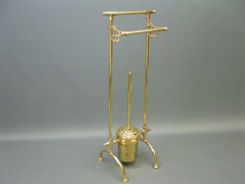 Massiv Messing WC Bürste Bürstenständer  Bürstengarnitur Vintage 68 cm golden