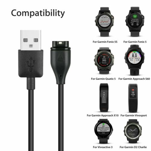Black Garmin Vivoactive 3 Charger Replacement Charging Charge Cable Cord USB