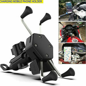 Universal-Motorcycle-Cell-Phone-Handlebar-Mount-Holder-USB-Charger-3-6-5-Inch