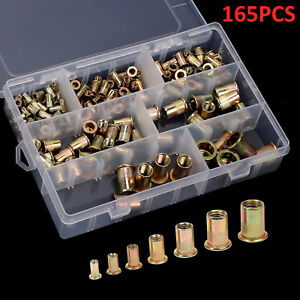 165pcs-Mixed-Rivet-Nut-Tool-Kits-Zinc-Steel-Rivnut-Insert-Threaded-Nutsert-M3-12