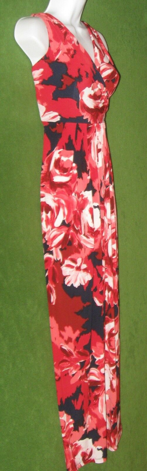 women Ricco Navy bluee Red Red Red Abstract Floral Jersey Long Maxi Dress 4  120 b9b68f