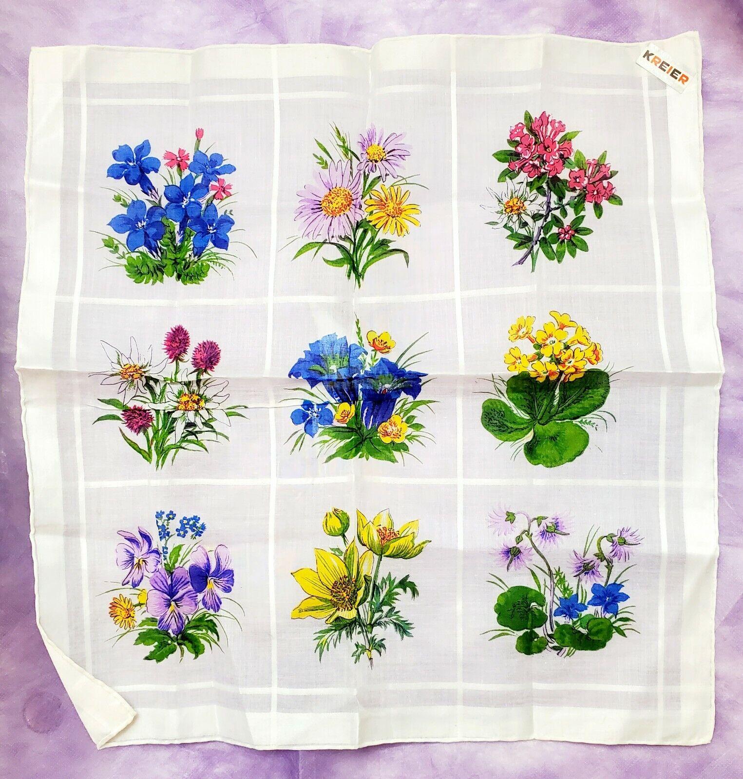 KRIER Lot Of 2 VINTAGE Handkerchiefs Colorful Flowers On White 13