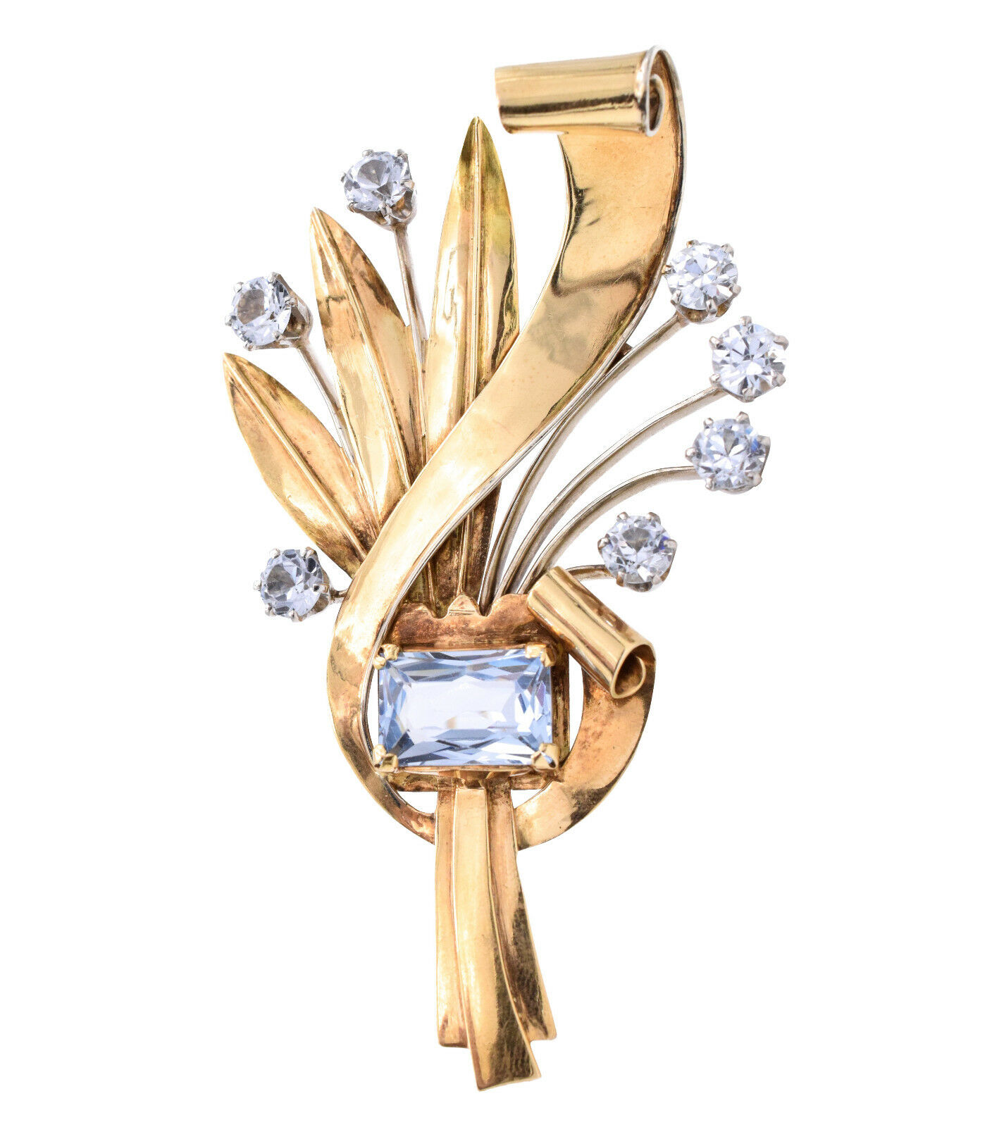 1930 - 1940 Art Deco Brooch Pin In 14k Yellow gold, Multi color Stones, 34.6g