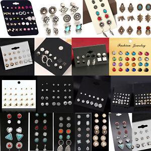 Fashion-Rhinestone-Crystal-Pearl-Earrings-Set-Women-Ear-Stud-Jewelry-12-Pairs