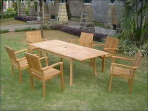 7 PC TEAK DINING SET GARDEN OUTDOOR PATIO FURNITURE POOL LEVEB STACKING DECK L06