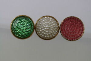 Vintage-Pretty-Zierknopf-Set-3-Smaller-Buttons-Probably-Um-1950-60
