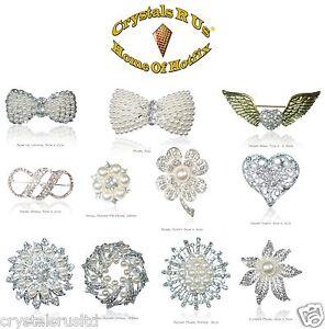 10-Wholesale-Job-Lot-Pearl-Vintage-Bridal-Brooch-Crystal-wedding-flower-gifts
