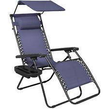Folding Zero Gravity Lounge Chair W/ Canopy & Magazine Cup Holder-Navy Blue