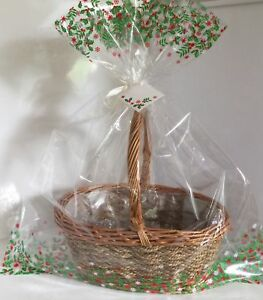 Details About 2 X Christmas Hamper Basket Gift Cake Cellophane Display Bags Large With Ties