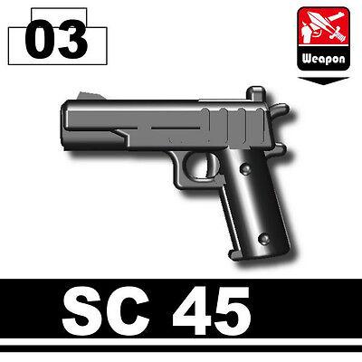 SC45 (W182) Black Pistol.45 1911 pistol compatible w/toy brick minifig Army SWAT