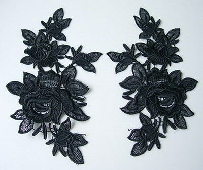 VT91-2 Mirror Pair Floral Flowers Roses Lace Venise Venice Applique Motif Black