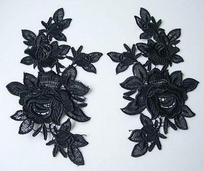 VT91-2 Mirror Pair Floral Flowers Roses Lace Venise Venice Applique Motif Black