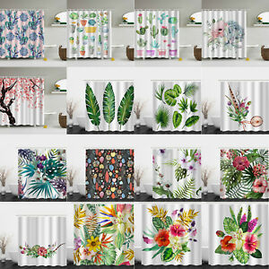 180x180cm-Bathroom-Shower-Curtain-Waterproof-Panel-Fabric-Sheer-With-12pcs-Hook