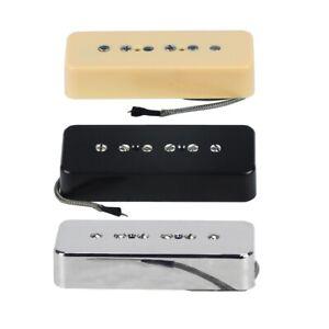 Alnico-5-Soapbar-P-90-P90-Pickup-Neck-Bridge-Metal-Braided-Cable-for-LP-Guitar
