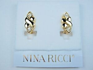 edf2f4010 Nina Ricci Gold Plated Clip-on Earrings with Swarovski Crystals 0374 ...