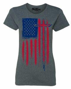 USA-Flag-with-Cross-Women-039-s-T-Shirt-American-Christian-Jesus-Faith-Shirts