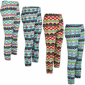 92513ab7d6 Image is loading Girls-Aztec-Print-Cotton-Leggings-Kids-Children-Teen-
