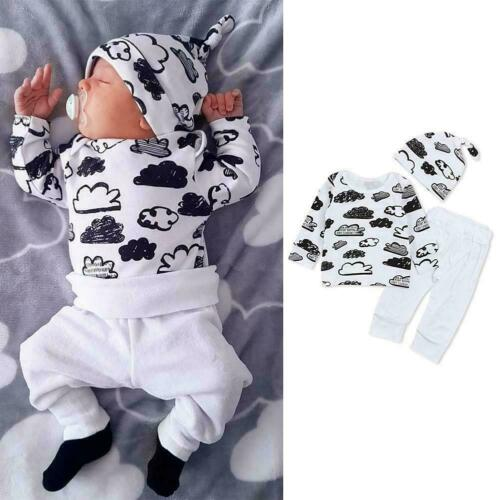 3pcs Toddler Infant Baby Boy Girl Clothes Tops+Pants+Hat Set Top Outfits W2R0