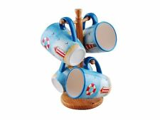 Nautical Theme 4x Ceramic Coffee Tea Mugs With Wooden Mug Tree Holder