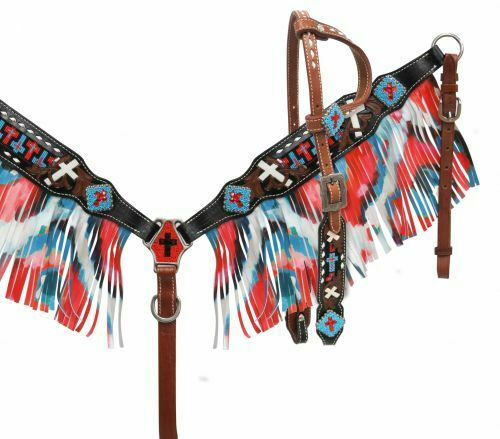 Showman Single  Ear Beaded Cross Headstall and Breast Collar Set with Fringe   high quality & fast shipping