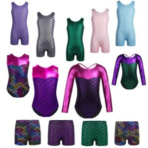 Girls-Mermaid-Leotards-Gymnastics-Dancewear-Ballet-Sport-Activewear-Dance-Shorts
