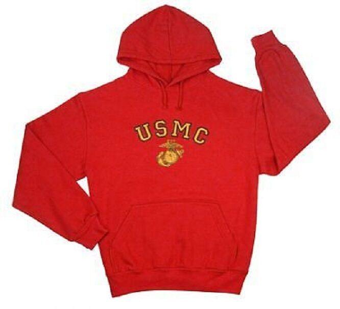 USMC Us Marines Rosso Con Cappuccio Esercito Maglione GCE con cappuccio Felpa con Cappuccio Medium