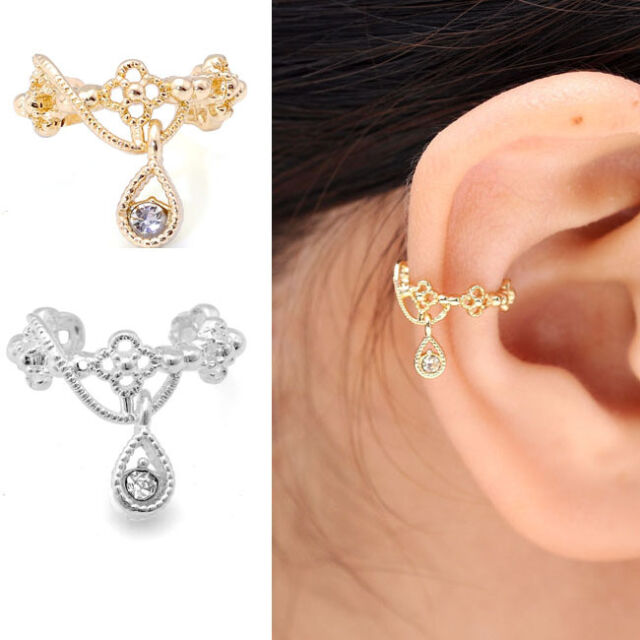 Punk Fashion Ear Cuff Wrap Rhinestone Cartilage Clip On Earring No Piercing New