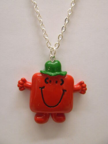 """Colour Option Mr Men Mr Strong Pendant With 18/"""" Silver Plated Necklace"""