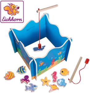 Holzspielzeug Geschicklichkeit, Eichhorn 100002089 Angelspiel mit Zwei Angeln