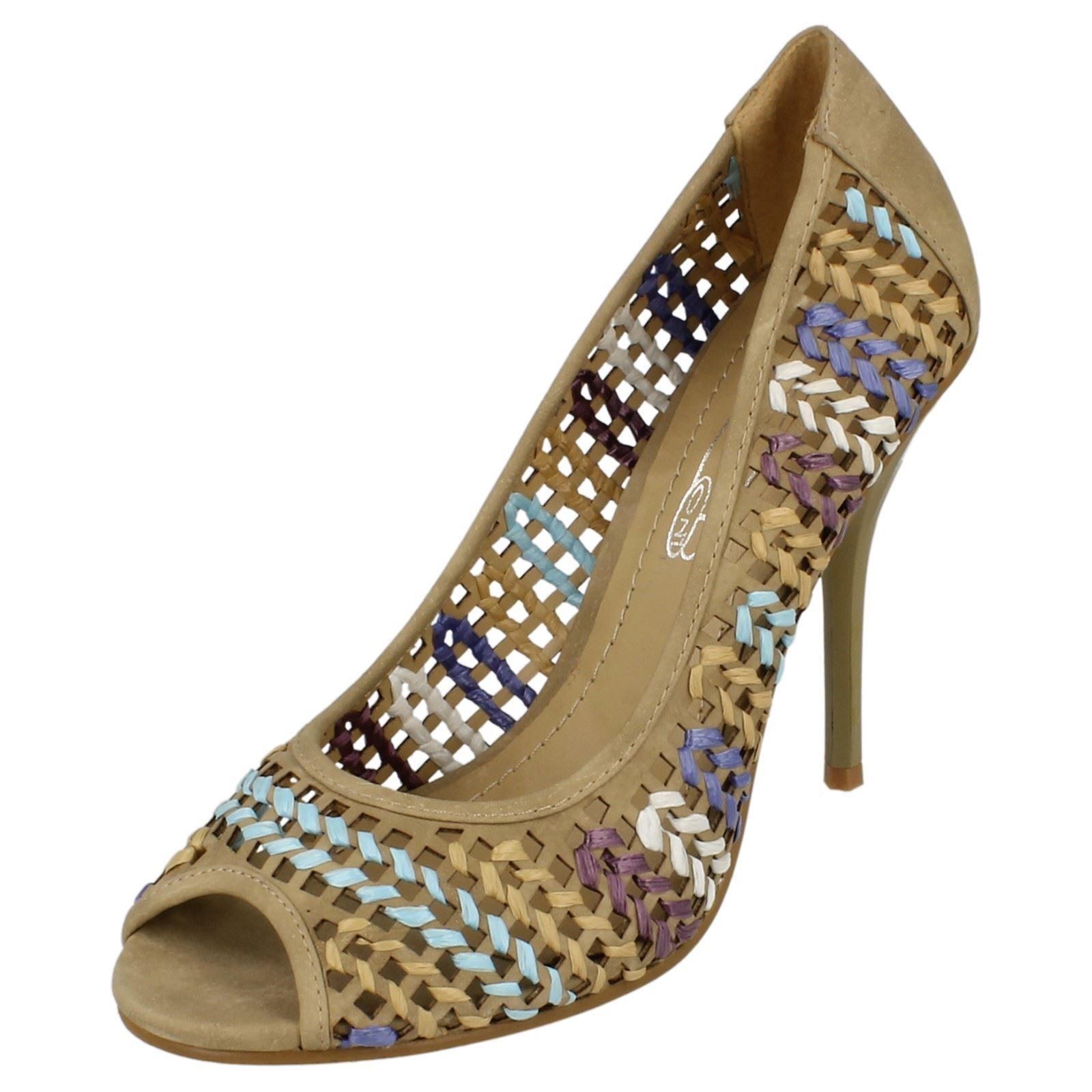 Moda jest prosta i niedroga Spot On f1r926 Mujer Efecto TRAMA Tejido Zapatos de salón peep toe BEIS (r59b) (