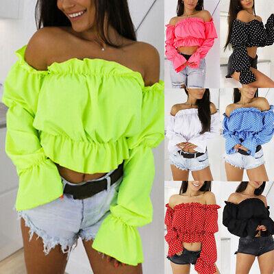 Women Ladies Off  Shoulder Crop Top Lantern Sleeve Romantic Chiffon Shirt Blouse