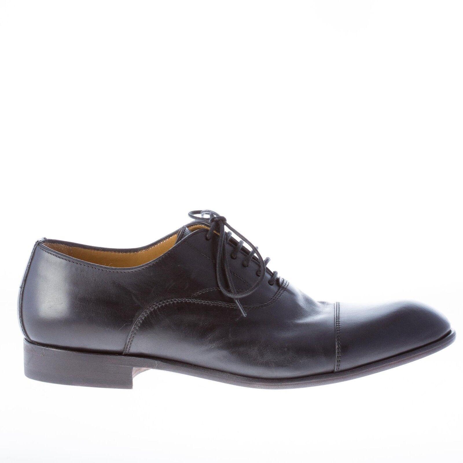 MIGLIORE scarpe uomo men francesina in vitello nero con puntale suola in cuoio