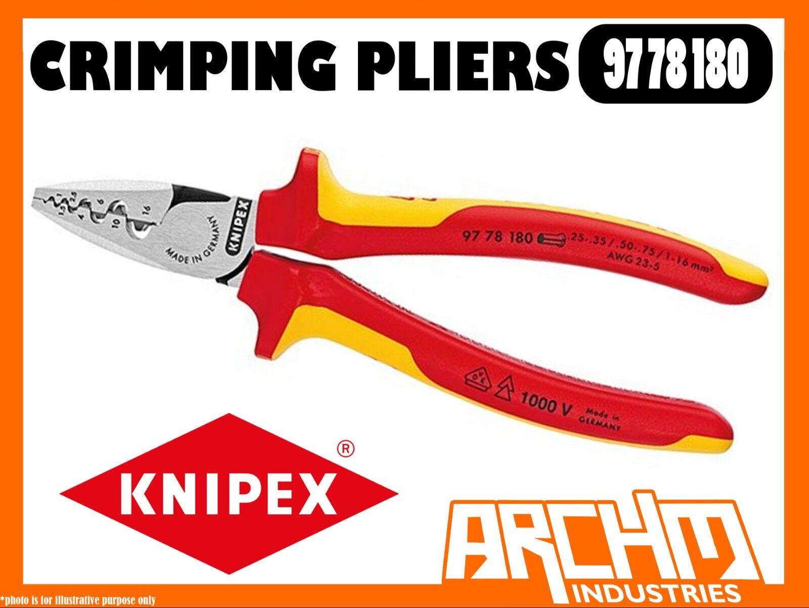 KNIPEX 9778180 - CRIMPING PLIERS END SLEEVES FERRULES SLIM DESIGN 180MM 1000 VDE