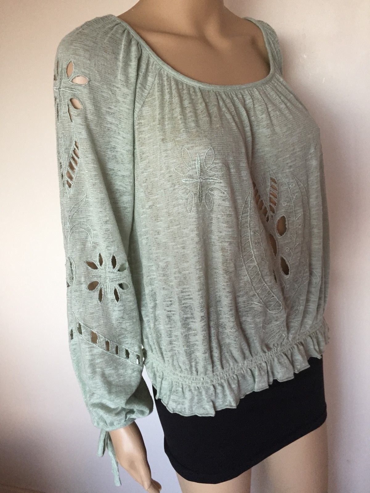 New Free People top blouse long sleeve pale Grün cotton poly embroiderot XS