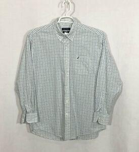 Mens-Nautica-16-5-32-33-Blue-Green-Plaid-Long-Sleeve-Button-Front-Dress-Shirt