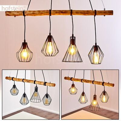 Hänge Lampen Retro Pendel Leuchten Holz//schwarz Ess Wohn Schlaf Raum Beleuchtung