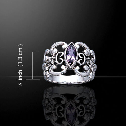 Celtic Knotwork Gemstone Sterling Silver Ring by Peter Stone Fine Jewelry