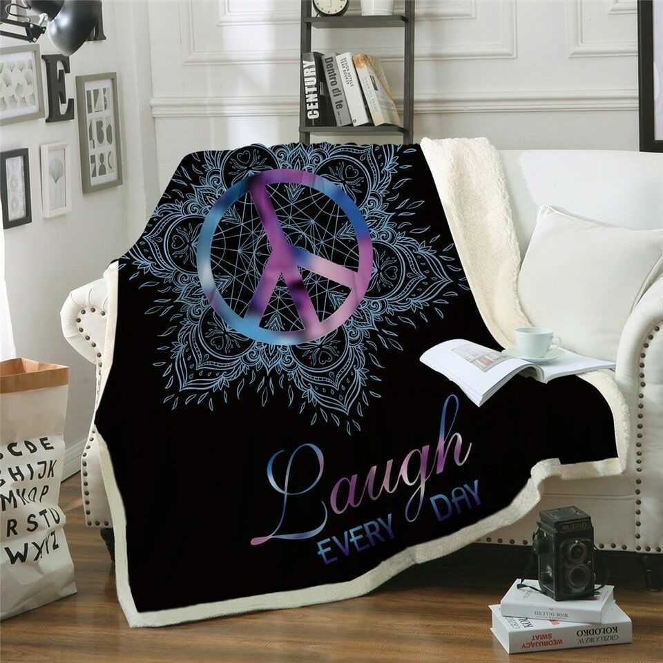 Peace Lotus Laugh Floral Sherpa Plush Throw Blanket Fleece Bed Sofa Couch
