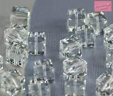 4x Swarovski Crystal Cube Bead Clear 5601 8mm - AMAZING VALUE! 75p EACH