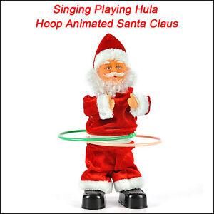 Singing playing hula hoop animated santa claus father for Animated santa claus decoration