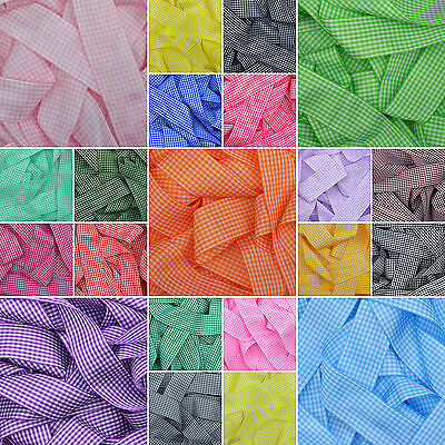 Gingham Plaid Ribbon in 20 Plain Colours 6mm 10mm 15mm 25mm 38mm