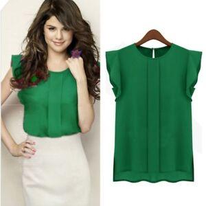 045d1290 Women Lady Summer Chiffon Work Wear Button Down Shirt Office Blouse ...