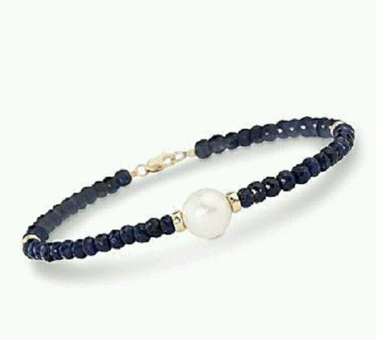 Genuine 15ct Sapphire freshwater white pearl solid 14k gold bracelet