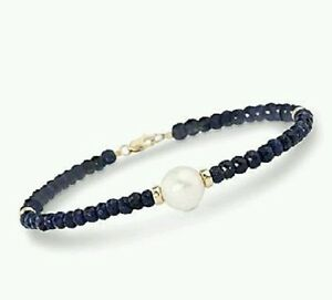 Genuine-15ct-Sapphire-freshwater-white-pearl-solid-14k-gold-bracelet